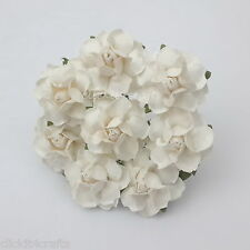 50 White Paper Flowers Decoration Scrapbook Card Wedding Roses Basket R21-15