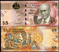 BAHAMAS 5 DOLLARS 2007 P 72 UNC