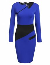 """SHARLEEN"" BEAUTIFUL LADIES SIZE 14-16 BLUE BLACK PANEL STRETCH PENCIL DRESS"