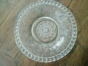 OLD VINTAGE BEAUTIFUL CRYSTAL CLEAR  TRADITIONAL MADE DECORATIVE GLASS PLATE