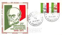 FDC Filagrano Gold - Italia - 1971 - Fondazione Repubblica - VG - annullo fORLì