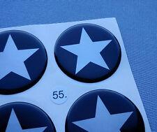 (stern 5/55SS) 4x Embleme für Nabenkappen Felgendeckel 55mm Silikon Aufkleber