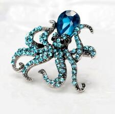 Charming Octopus Austria Pendant Brooch Pins Blue Crystal Animal Jewelry