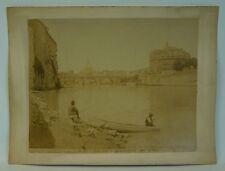 N. 575 romaníes Castel S. angelo tever econ barca-Old vintage photo - 19. Century