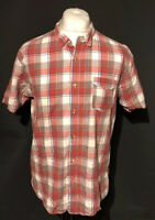Levi's Strauss Men's Shirt Red Check Large 100% Cotton Short Sleeve
