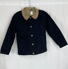 Gymboree Boy's Jacket Size M 7-8 Fleece Lined Corduroy Collar Navy Blue Coat