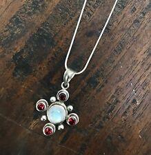 "Italian sterling rope necklace chain w/ garnet moonstone flower pendant 28"""