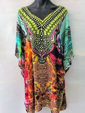 Bright Sheer Chiffon Embellished Kaftan  Digital Printed Size 16-18-20-22-24-26