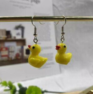 Yellow Cute Funny Duck Earrings