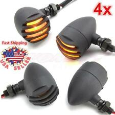 4X Black 12V Motorcycle Turn Signals Bullet Blinker Indicator Lights Amber Lamps