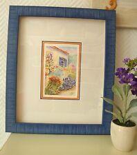 """Aquarelle """"Bastide à la lavande"""", carte décorative encadrée et prête à poser"""