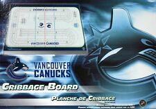 VANCOUVER CANUCKS CRIBBAGE GAME ~ RINK SHAPED CRIBBAGE FREE CANUCKS TEAM CARDS