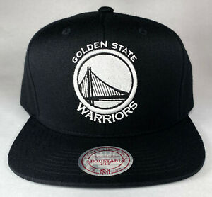 Mitchell and Ness NBA Golden State Warriors Black/White Hi Crown Snapback Hat