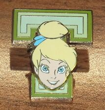 Walt Disney Tinkerbell Head on Green Block Letter T 2005 Official Trading Pin!