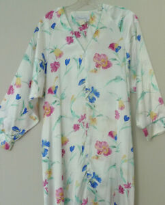 Christian Dior Floral Theme Satin-finish Poly Nightgown Robe Zip Front Medium