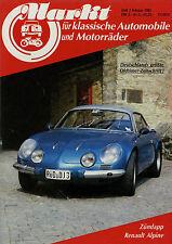 Markt 2/85 1985 DKW Monza Opel Motoclub Renault Alpine A110 VW-Porsche 914 Adler