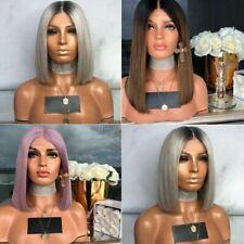 Real corto lacio Natural pelucas de Cabello Peluca Completa de utilería estilo Bob Mujeres Damas