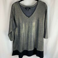 Karen Kane Womens Blouse Gray Black 3/4 Sleeve V Neck Stretch Sheer Hem Plus 0X