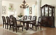 Traditional Brown Finish Faux Leather Dining Room Set 9Pcs Crown Mark 2150 Kiera