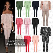 Ladies Celebrity Inspired 2 Piece Frill Bardot off Shoulder Suit Set 8-14 Black Lace Ml 12-14