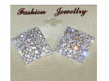 NEW (6140-14) large square bling diamante earrings silver