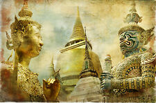 SUPERB ANTIQUE STYLE THAI BUDDHA CANVAS #656 QUALITY FRAMED PICTURE A1
