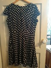 New F&F Size 16 Black White Polka Dot Spot Fit Flare Midi Tea Dress
