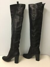 Authentic ICONIC Chanel Over the Knee Thigh High Black Leather Boots 39