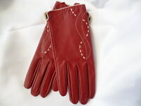 Retro 1970s vintage burgundy leather ladies driving riding gloves size M unworn