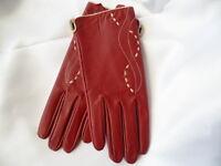 Retro 1970s vintage burgundy leather ladies driving riding gloves size M unworn