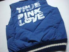 VICTORIA'S SECRET TRUE PINK LOVE #86 BLUE ZIP UP WINTER PUFFY VEST SIZE M / L