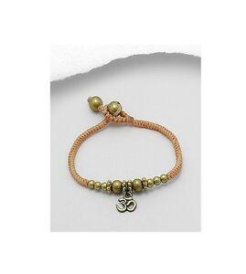 Om Ohm Yoga Namaste Brass Charm Cotton Waxed Trendy Fashion Bracelet
