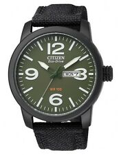 Citizen Eco-Drive Nylon Strap Mens Stainless Steel Military Watch BM8475-00X