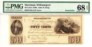 50 Cents 1840's John H. King Maryland, Williamsport PMG SUPERB GEM 68 EPQ- WOW!!