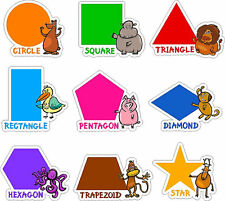 Colorful Shape Learning Stickers Removable/Repositionable Pre-School Wall Decals