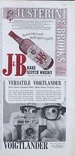 1960 J&B PRINT AD feat: Justerini & Brooks Scotch & Voigtlander Camera PRINT AD