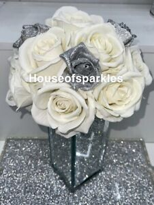 New Silver Crushed Crystal Diamond Flower Vase With Flowers