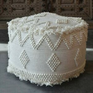 Uttermost Uriah Wool And Cotton Ivory Pouf In Ivory Finish 23965