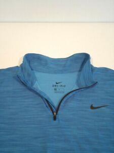 Nike Breathe Dry Quarter Zip Shirt Men's Size Medium Blue Dri-Fit Top 940177-436