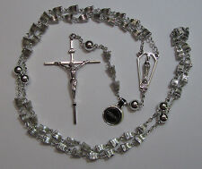 "† WONDERFUL VINTAGE STERLING RIDGED ""WEDDING BELL"" ROSARY 28"" NECKLACE ROSARIO †"
