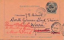 Entier Postal Monaco Monte Carlo pour Gibraltar puis New-York Cover