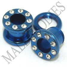 Tunnels 00 Gauge 00G Ear Plugs 10mm 0889 Blue Steel Screw-on fit Cz Flesh