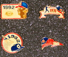 CLEVELAND INDIANS 4 Lapel Hat Pin Set w/ Case 1932, 1954 AL Champs, 1976 & 1992