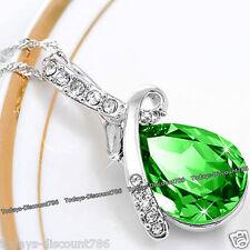 Verde Lágrima Collar con cristal AMOR PLATA Navidad Regalos Para Ella novia