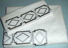 Sferra Gramercy Queen Duvet Cover 3 PC. Set Cotton Percale Grey Satin Border New