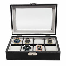 8 (6 + 2) WATCH BLACK LEATHER OVERSIZED XL DISPLAY CASE STORAGE COLLECTOR BOX
