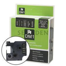 "1pk White on Black Label Tape Fit for DYMO 45811 D1 19mm 3/4"""