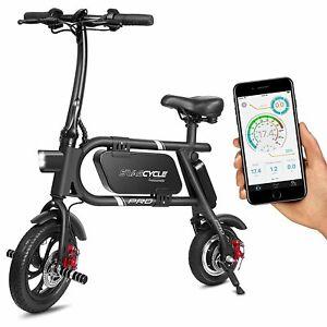 SwagCycle Pro Folding Electric Bike E Bike Pedal Free App Enabled 18 mph Black