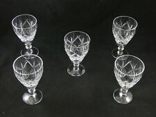 Five Good Quality Cut Crystal Small Wine Glasses