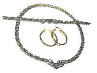I LOVE YOU Hugs & Kisses Necklace Womens 2 Tone Bracelet No Stone Hoop Earrings